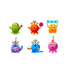collection cute funny colorful monsters cartoon vector image