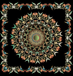 colorful baroque mandala pattern and frame with vector image