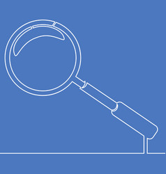 continuous one line magnify icon line concept vector image