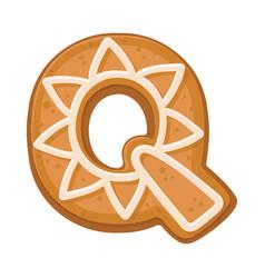 Cookies in shape letter q vector