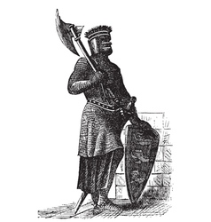 Crusader Knight Engraving vector