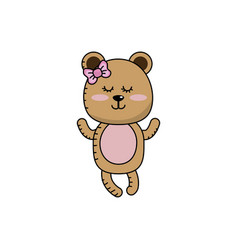Cute bear girl wild animal character vector