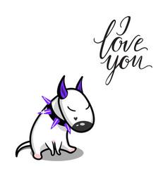 cute cartoon dog white bull terrier in vector image