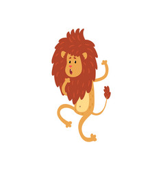 cute funny lion cub cartoon character walking on vector image