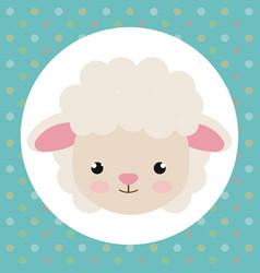 cute sheep head tender character vector image