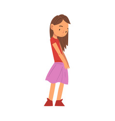 Cute unhappy girl sad child wearing skirt and vector