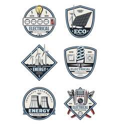 Electrical service badge electricity supply vector