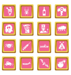 Fears phobias icons set pink square vector