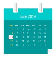 Flat calendar page for June 2014 vector