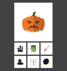 flat icon halloween set of broom pumpkin tomb vector image