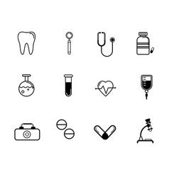 Flat medicine icons set vector