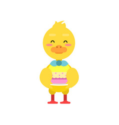 Funny little yellow duckling holding birthday cake vector