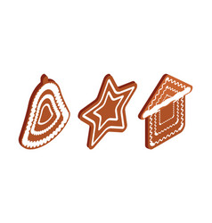 gingerbread cookies set christmas holidays food vector image