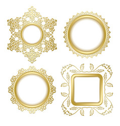 Golden decorative frames with transparent shadow vector