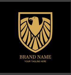 golden eagle crest shield logo vector image