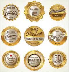Golden premium quality retro labels vector