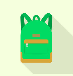 Green backpack icon flat style vector