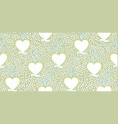 Green pattern with heart and banner vector