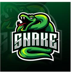 Green snake esport mascot logo design vector