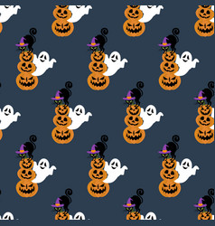 halloween cat in witch hat seamless pattern vector image
