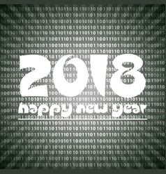 Happy new year 2018 on grayscale stripped binary vector
