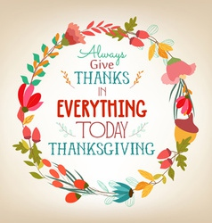 Happy Thanksgiving florals wreath Colors vector