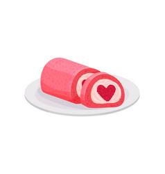 heart-shaped ice-cream roll cake sweet food vector image