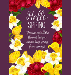 Hello spring festive banner with springtime flower vector