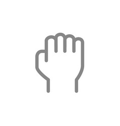Human fist line icon power and resistance gesture vector