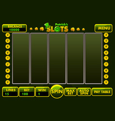Interface slot machine style stpatricks vector