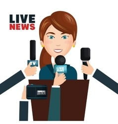 Interview to person on podium vector