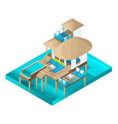isometry chic bungalow in the maldive islands vector image