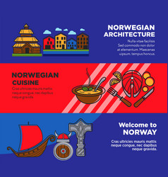 journey to norway promotional posters with vector image