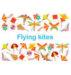 Kid cartoon kites animal bird and butterfly shape vector