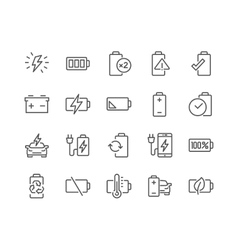 Line Battery Icons vector