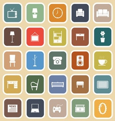 Living room flat icons on light background vector image