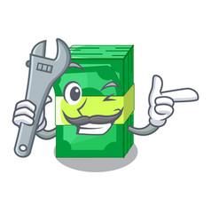 Mechanic set money in packing bundles cartoon vector