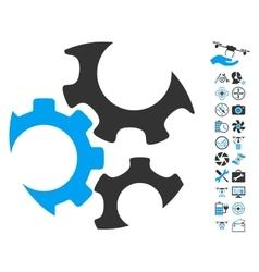 Mechanics Gears Icon With Copter Tools Bonus vector