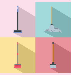 mop cleaning swab icons set flat style vector image