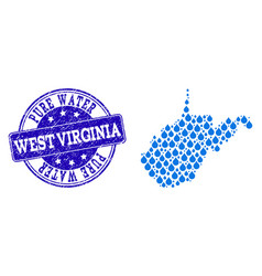 Mosaic map of west virginia state with water dews vector