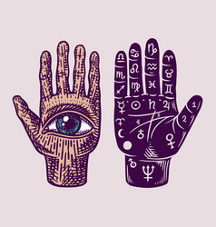 Mystical magic palmistry esoteric or alchemy vector