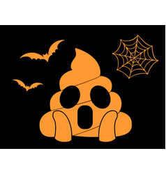 orange scary shit face flat icon with flying bat vector image