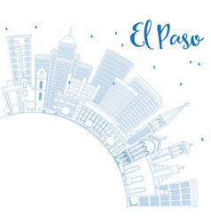outline el paso skyline with blue buildings and vector image