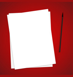 Paper list on red table with brushpen template vector