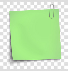 Paper mockup light green note attached vector