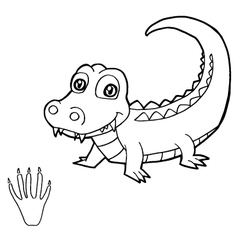 paw print with crocodile Coloring Pages vector image