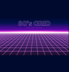 perspective grid retro 80s design element neon vector image
