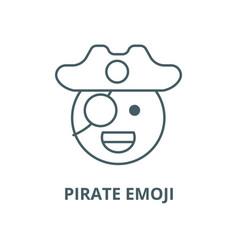 Pirate emoji line icon linear concept vector