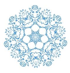 Rosette pattern of blue flowers vector