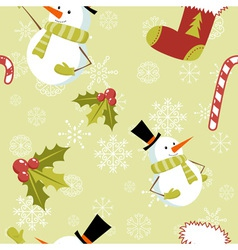 Seamless pattern with Christmas snowman vector